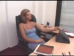 Blonde, Office, Shemale, Shemale gives handjob, Xhamster.com