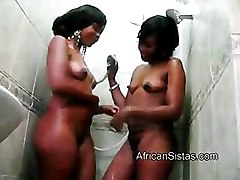 African, Amateur, Lesbian, Shower, Lesbians take it slow and have strapon sex, Pornhub.com