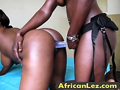 African, Lesbian, Strapon, Lesbians test strap on, Nuvid.com
