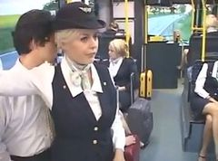 Bus, Stewardess, Stewardess sucking, Tube8.com
