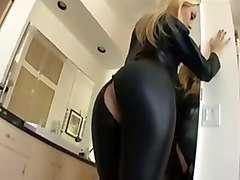 Blonde, Leather, Amateur leather fuck, Tube8.com