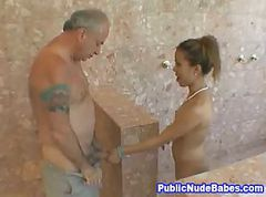 Asian, Blowjob, Public, Shower, Step mom fuck in shower hot sex tube, Gotporn.com